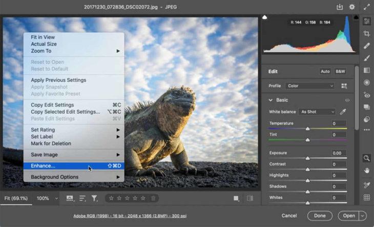 Photoshop utiliza  IA para cuadruplicar la resolución de una foto sin perder calidad