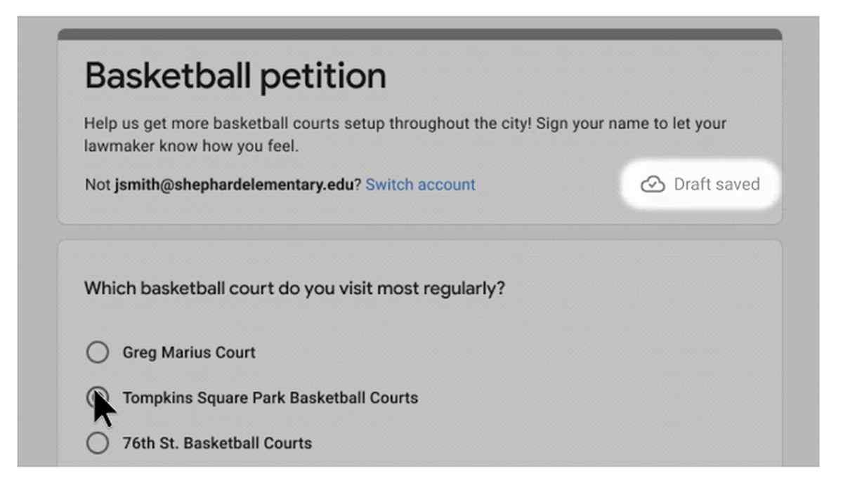 Los formularios de Google comenzarán a guardar el progreso como borradores