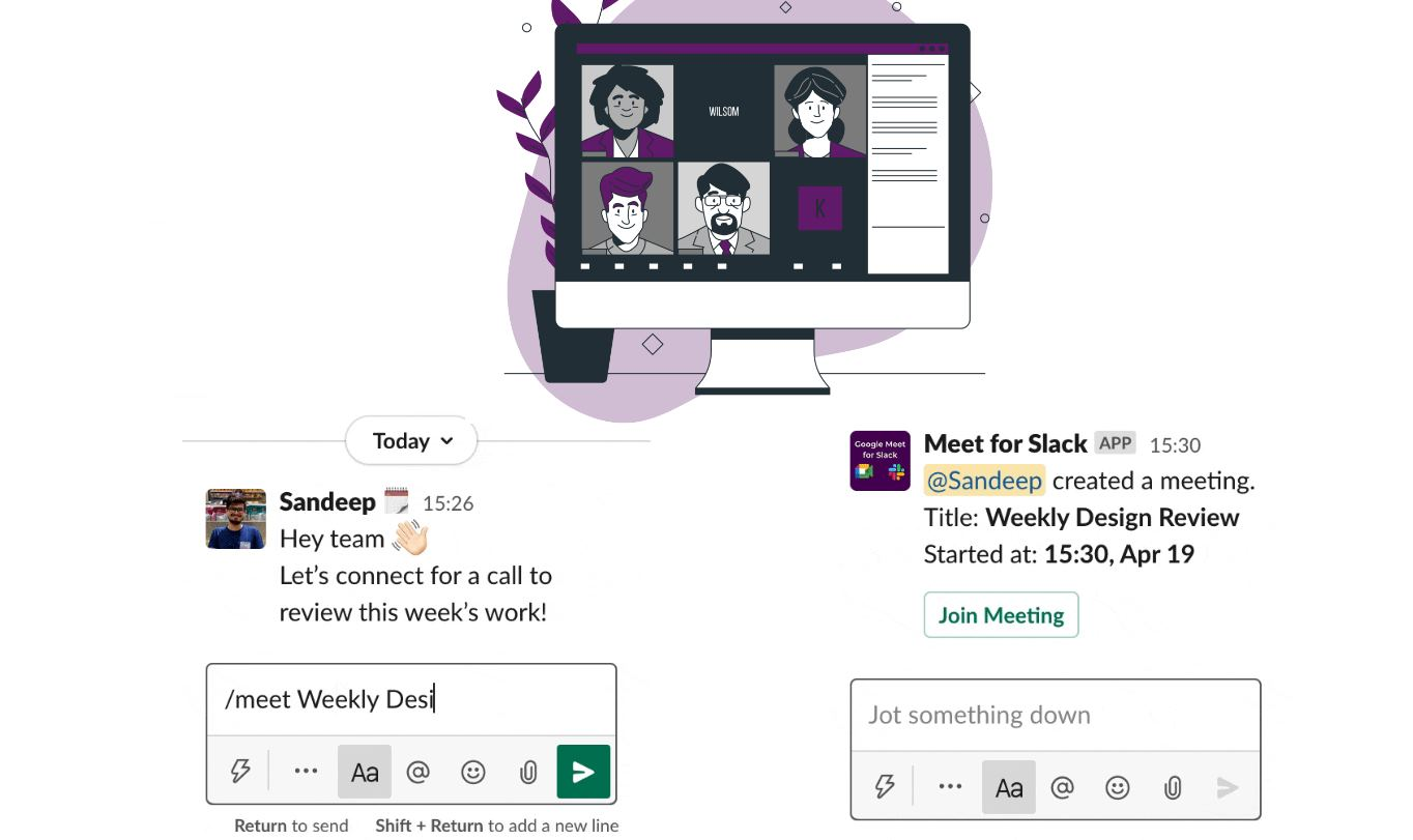 Google Meet para Slack, para organizar reuniones en segundos