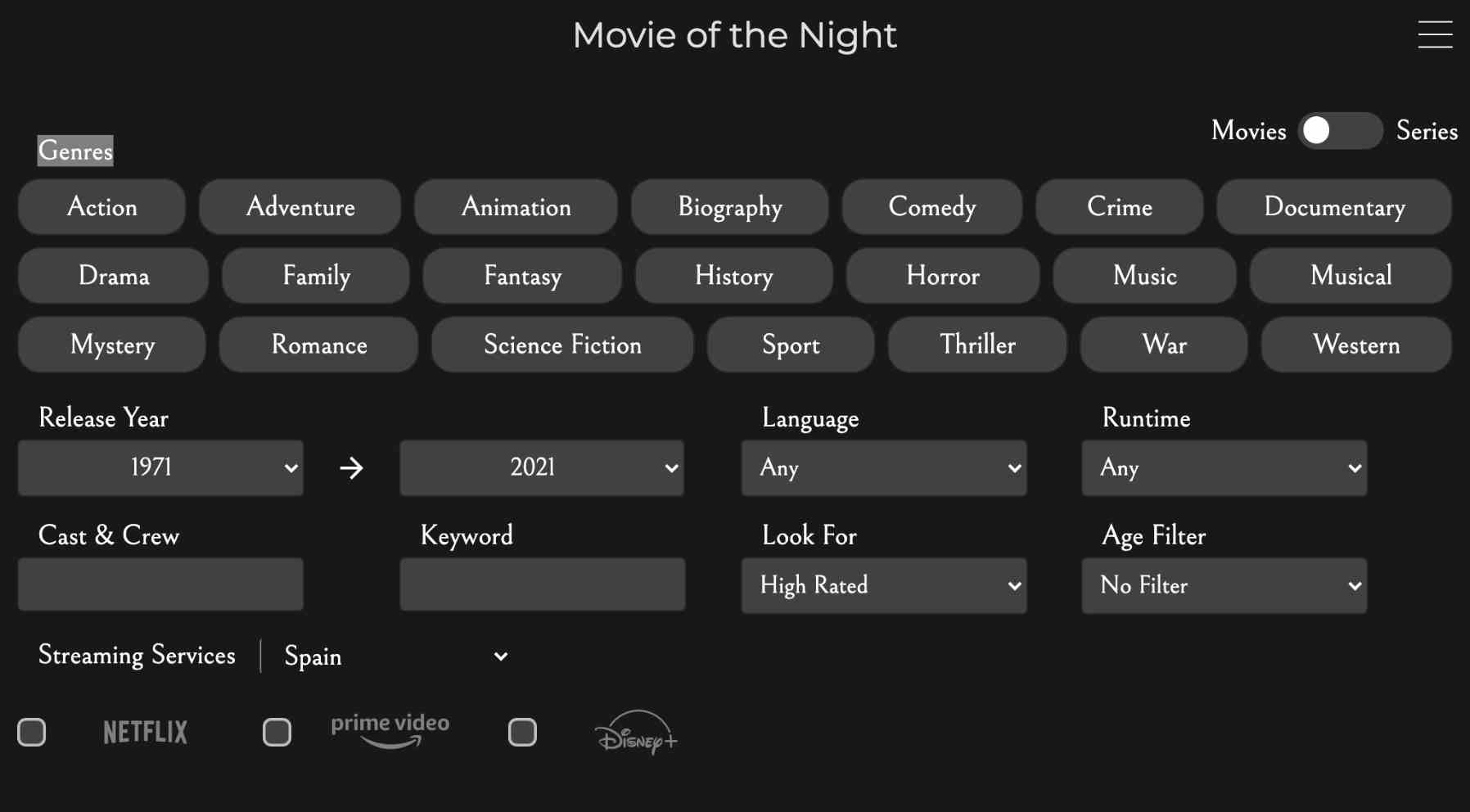 Un buscador de películas y series que unifica muchas plataformas de streaming
