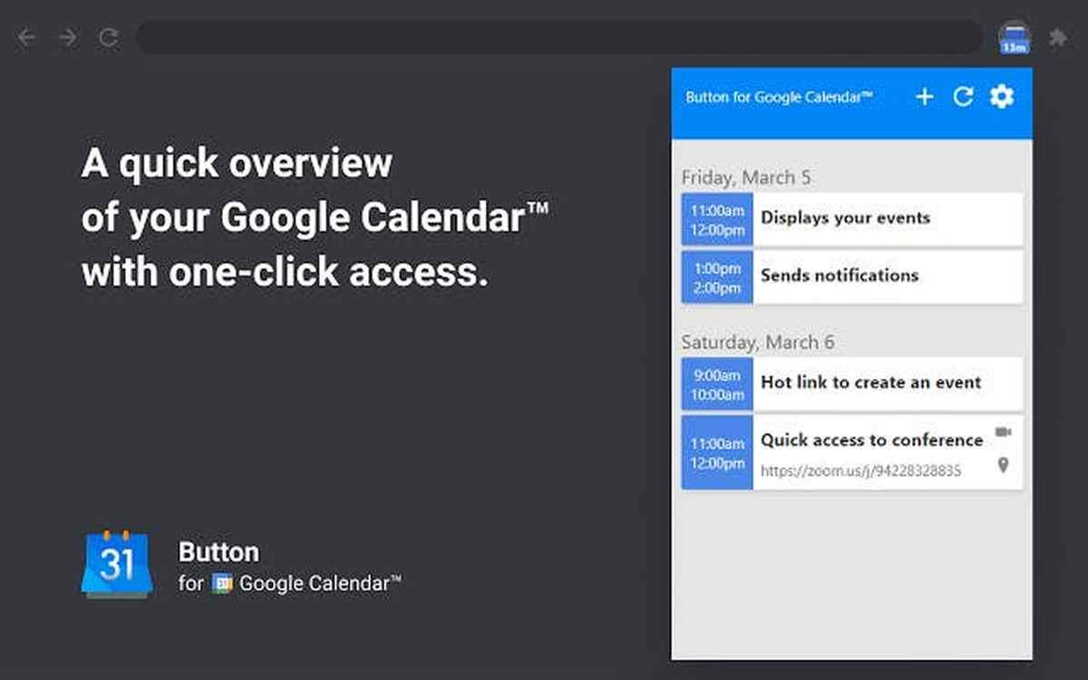 Una extensión para tener acceso rápido a Google Calendar