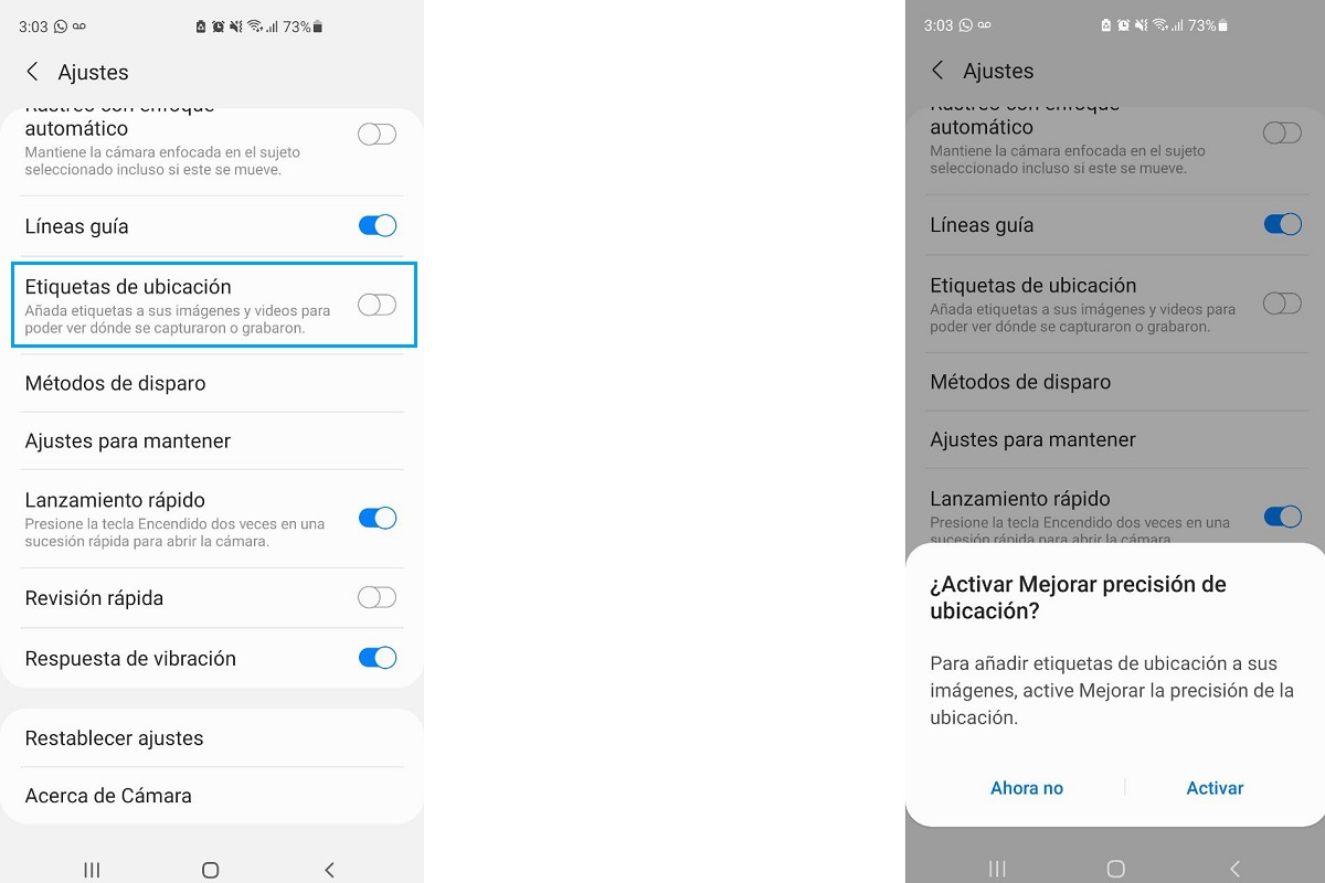 Disable Android Photos location