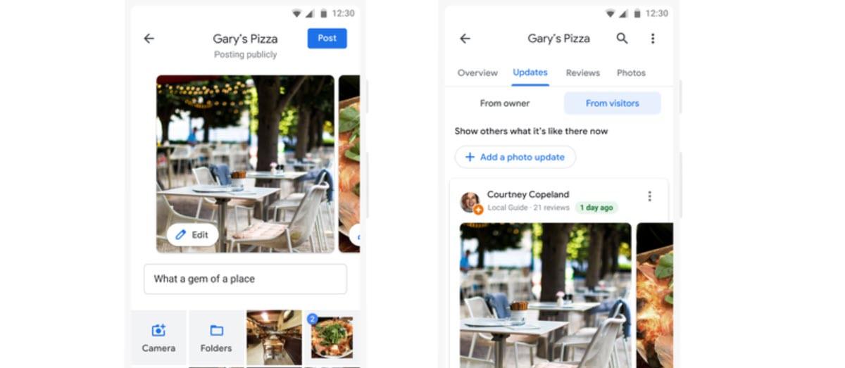 Google Maps ya permite crear publicaciones rápidas usando fotografías