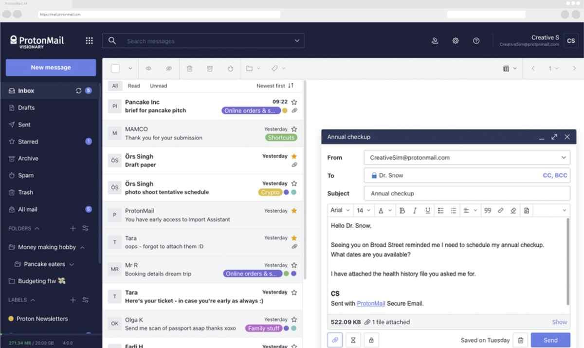 Así luce el nuevo diseño web de ProtonMail