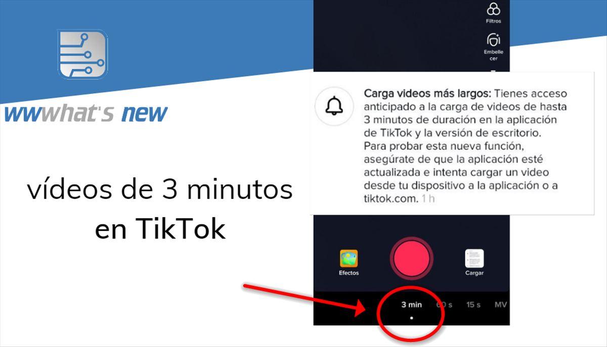 Vídeos de 3 minutos en TikTok, una opción que ya va apareciendo