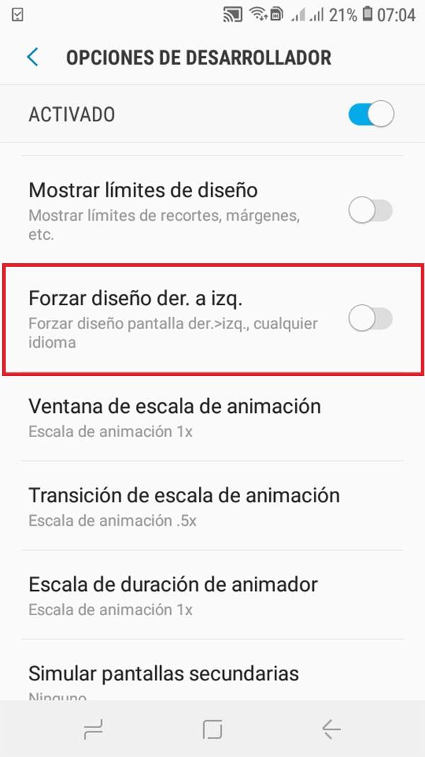 activar modo zurdo en android 5