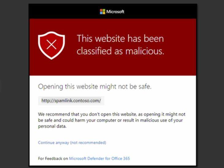 Advertencia URL maliciosa