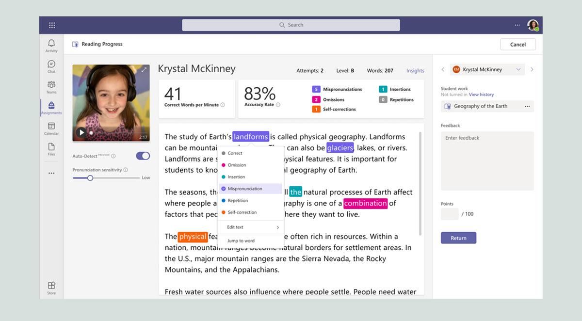 Microsoft Teams suma una herramienta para evaluar la fluidez de lectura de los estudiantes