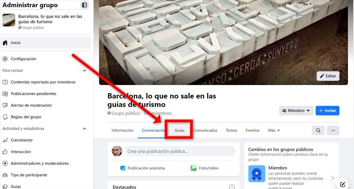 Guías en los grupos de Facebook