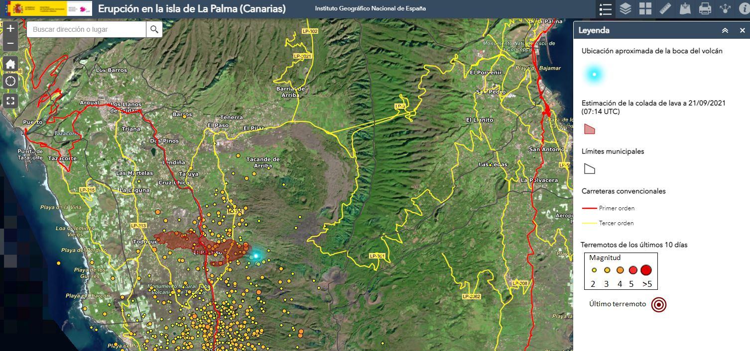 mapa volcan palma